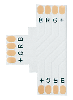 CONECTOR TIRA T IP20 5050 RGB 10MM 4P